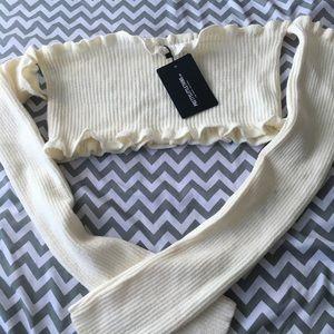 Knit Bardot off the shoulder crop top